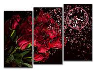 """Настенные модульные картина-часы """"Букет Роз"""" 3 модуля"""