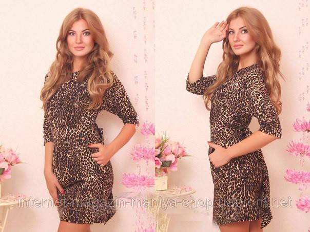 Женское платье леопард