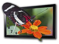 """Фигурные настенные часы """"Бабочка на цветке"""""""
