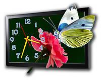 """Фигурные настенные часы """"Бабочка на розе"""""""
