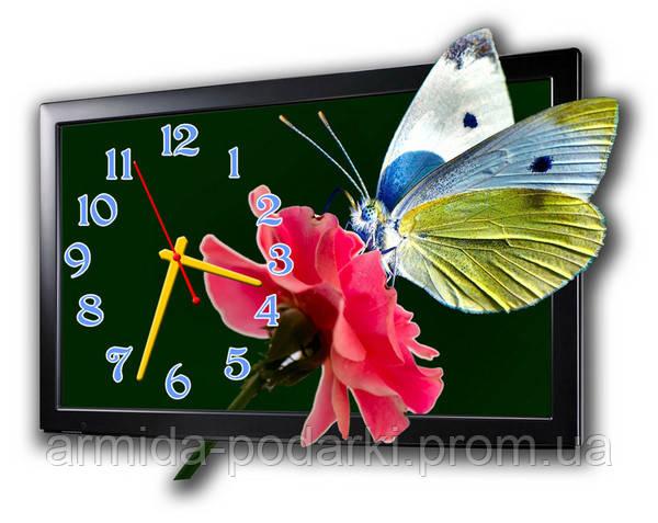 """Фигурные настенные часы """"Бабочка на розе""""  - Армида-подарки в Запорожье"""