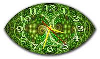 Оригинальные фигурные настенные часы, цвет зелёный 30х53 см