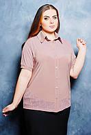 Однотонная блуза рубашечного покроя с воротничком и ажурной фигурной кокеткой большого размера 52-62