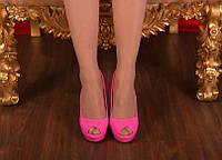 Яркие туфли с открытым носком. Иск.лак. Размер 36-39