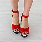 Босоножки Woman's heel красные (О-645), фото 3