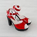 Босоножки Woman's heel красные (О-645), фото 4