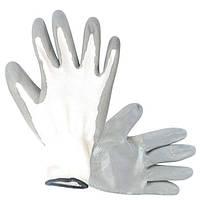 Перчатка белая вязанная синтетическая, покрытая серым нитрилом на ладони 10 INTERTOOL SP-0112
