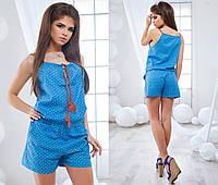 Модный женский комбинезон принт горошек / Украина / джинс