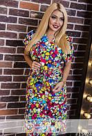 Цветное платье из штапеля  в расцветках, батал 542