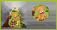 Плед из микрофибры Зверята в лесу (на зеленом)