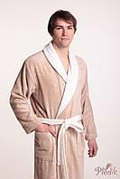 Махровый халат мужской Royal хлопок/бамбук бежевый XL, фото 1