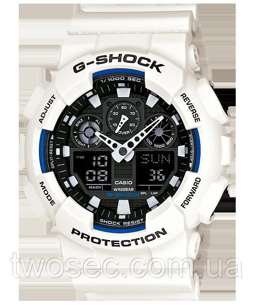 Часы мужские наручные в стиле Casio G-Shock GA-100 белые с черным (Касио Джи Шок) электронные противоударные