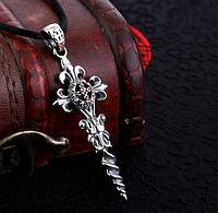 Серебряный кулон подвеска готический крест с винтом