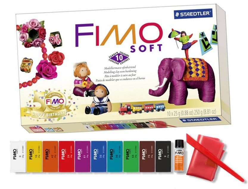 НОВИНКА.FIMO soft Фимо Софт базовый комплект полимерной глины НОСТАЛЬГИЯ,10 шт.+лак+стек