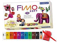 НОВИНКА.FIMO soft Фимо Софт базовый комплект полимерной глины НОСТАЛЬГИЯ,10 шт.+лак+стек, фото 1