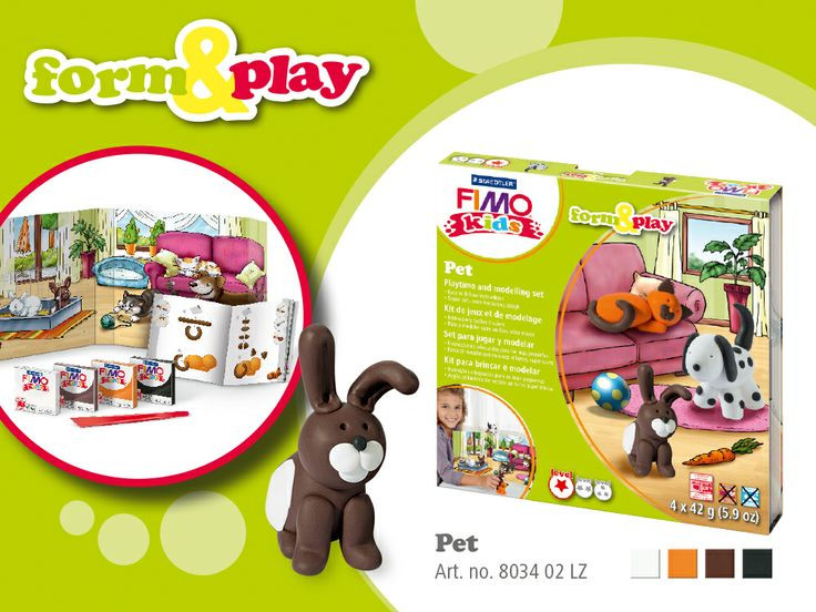 """Подарочный стартовый набор Fimo Kids Фимо Кидс """"Pets"""" Ваш питомец, 4 шт.+стек+подробныеинструкции"""