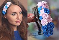 """Гребень для волос """"Фантастические розы"""". Ручная работа. Цветы из полимерной глины, фото 1"""