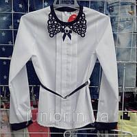 Школьная блузка с ажурным воротником и поясом Mariatex (Польша)