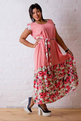 Платье батал женское цветы