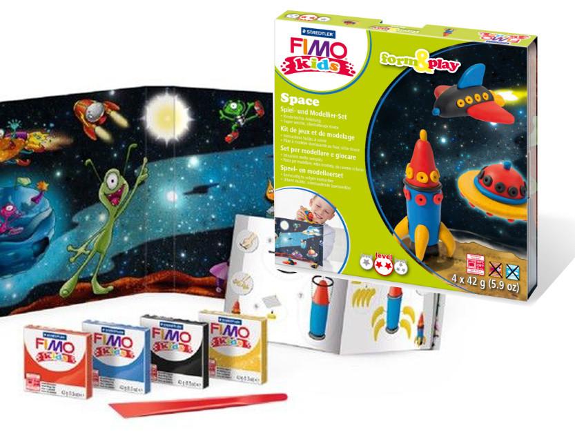 """Подарочный стартовый набор Fimo Kids Фимо Кидс """"Космос"""", 4 шт.+стек+подробные инструкции"""