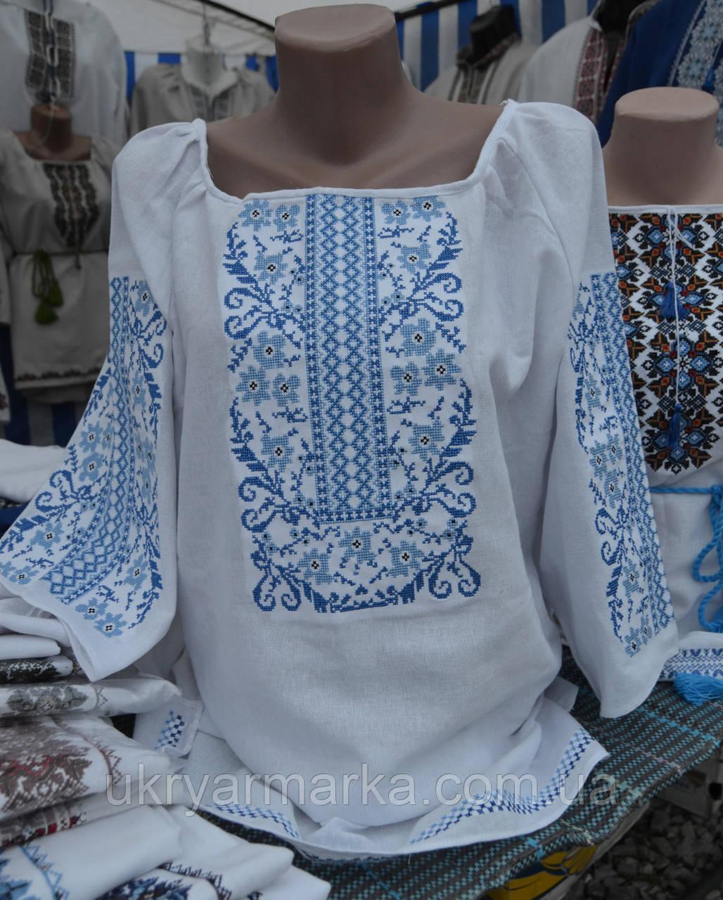 """Жіноча вишита сорочка """"Небокрай"""" синя"""