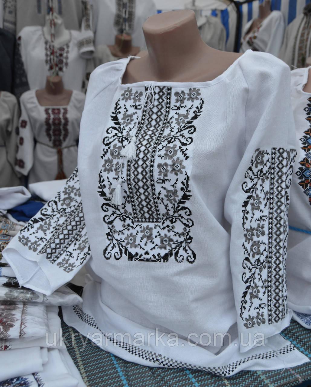 """Жіноча вишита сорочка """"Небокрай"""" сіра"""