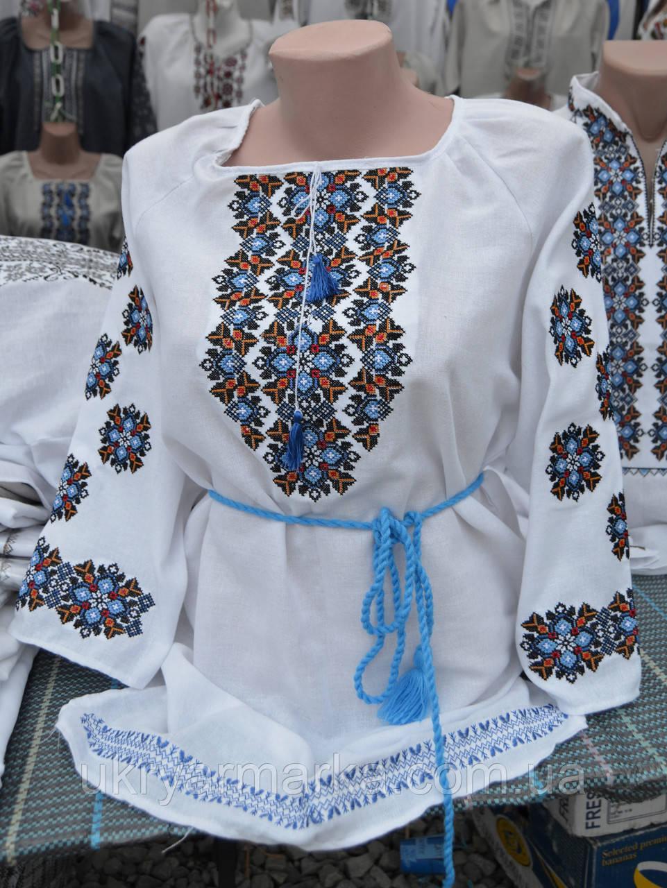 """Жіноча вишита блузка """"Воля"""" голуба"""