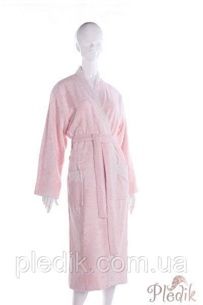 Бамбуковый махровый халат FLASHY с кружевом, розовый