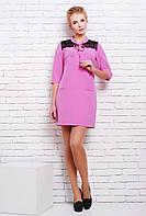 Короткое милое платье прямого немного приталенного силуэта с воротничком стойка и вырезом 42-44 размеры