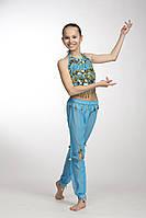 Комплект детский для восточных танцев с брюками Голубой