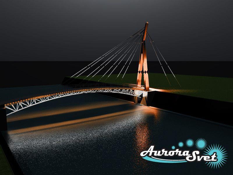 Архитектурная подсветка мостов. LED освещение. Светодиодное освещение. Профессиональное освещение сооружений.