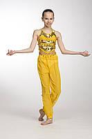 Комплект детский для восточных танцев с брюками желтый GoDance 001