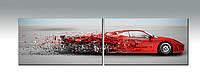 """Панорамное панно """"Red car"""". Печать на холсте. Ультрофиолет, фото 1"""