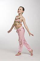 Комплект детский для восточных танцев с брюками желтый желтый розовый