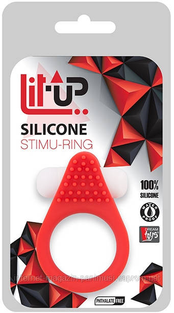Виброкольцо Lit-Up Silicone Stimu Ring 1 Red для стимуляции клитора + ПУПЫРЫШКИ