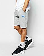 Шорты Adidas серые трикотажные синий цветок