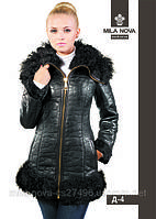 Женская дубленка модная удлиненная Д-4 с мехом тиградо., фото 1