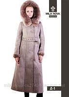 Модная женская дубленка длинная Д-1 с мехом тоскано