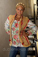 Модная женская жилетка теплая №1 из дубляжа с мехом мутон искусственный., фото 1