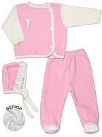 Велюровый набор: кофта, ползунки и шапочка (Розовый с бежевым)