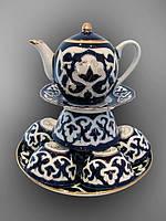 Узбекская национальная посуда Пахта-стандарт. Чайный набор, 10 предметов