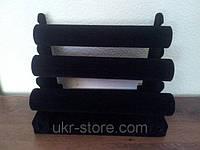 Чёрная подставка для ювелирных украшений, 3 бочонка высота 22смдлина   31см