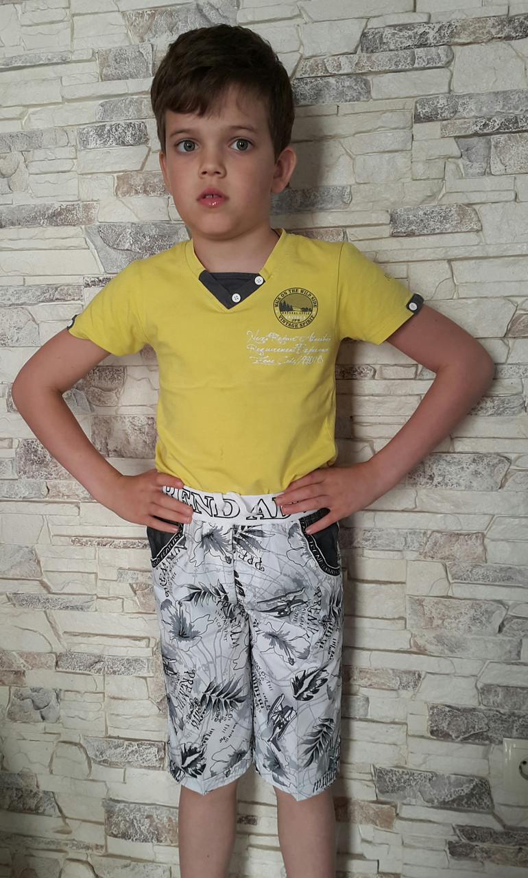 Лёгкие шорты для мальчиков  110,116,122,128 ростаГидроплан
