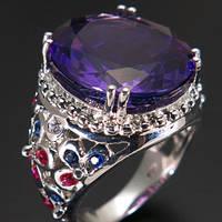 Кольцо серебро 925 пробы аметист 12,75 карат, фото 1
