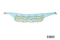 Пояс с яркими монетками женский для восточных танцев живота красивый голубого цвета