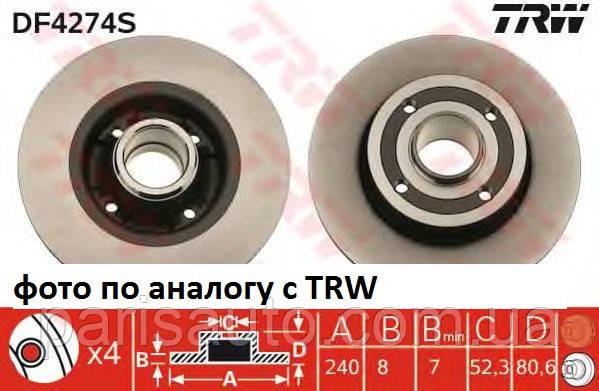 Диск гальмівний з підшипником Nissan Note Renault Megane II AR 2002> LPR R1005PCA TRW DF 4274BS
