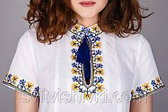 Женская вышитая туника крестиком с оригинальным орнаментом на домотканом лене, фото 2