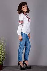 Вышитая женская сорочка на натуральной ткани с красными розами, фото 3