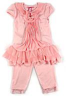 Легкий трикотажный костюм с шифоновой отделкой для девочки