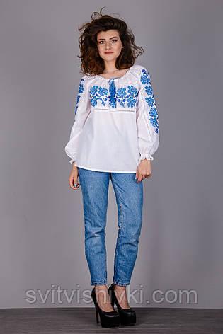 Вышитая женская блуза с синим узором, фото 2